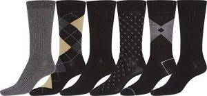 Sakkas Mens Cotton Blend Pattern And Ribbed Dress Socks Value 6-Pack