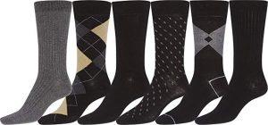Sakkas Mens Cotton Blend Pattern And Ribbed Dress Socks Value 6-Pack
